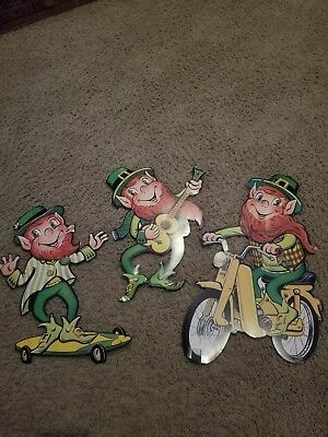 3 Vintage 1967 Die Cut St. Paddy's Day Leprechaun Decorations The Beistle Co.