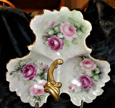 Vintage Porcelain Hand Painted Tray With Handle