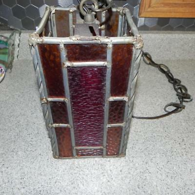 #0214 Vintage Square Stained Glass Leaded Handmade Hanging Lamp Light Old Decor