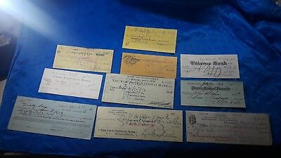 Bank Checks, Lot of 10 bank checks from 10 different banks from 1931-1965