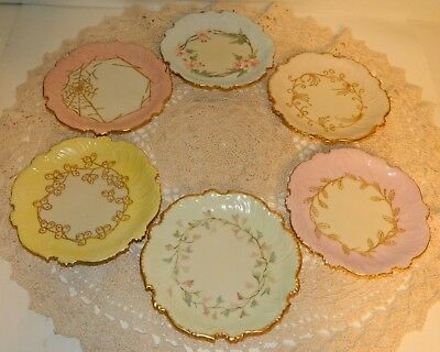Set Of 6 T&v Limoges Desert Saucers All Same Pat. But All Hand Painted Different