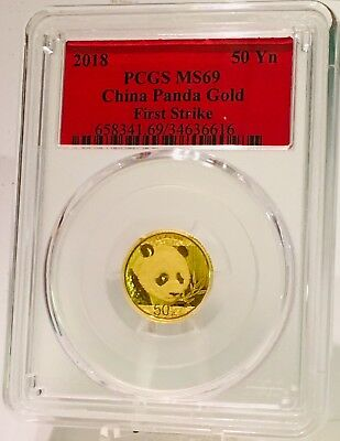 2018 China Gold Panda 3 Gram .999 Coin PCGS MS69 First Strike Red Label 50 Yuan