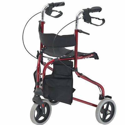 Lightweight Folding 3-Wheel Tri-Walker With Seat. Adjustable Handles. Brakes