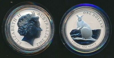 Australia 2012 $1 1 oz 99.9 Silver Uncirculated Kangaroo In its Capsule Only
