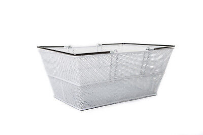2 Handle Luxury Silver Wire Shopping Basket Retail Supermarket Hand Carry Mesh