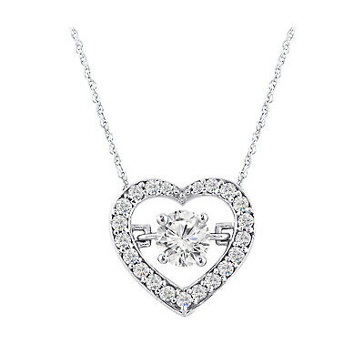 "14k White Gold Over 925 Sterling Silver Dancing Diamond Heart 18"" Chain Pendant"