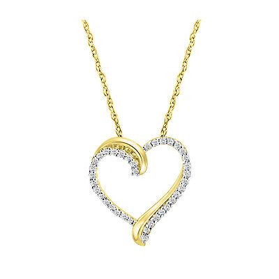 "14k Yellow Gold Over 925 Sterling Silver Round Diamond Heart 18"" Chain Pendant"