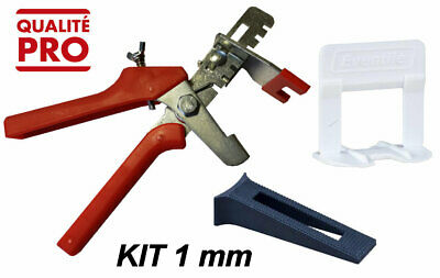KIT CROISILLONS AUTO NIVELANT 1000 clips 1 mm + 250 cales + 1 pince