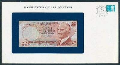 Turkey: 1970 20 Lirasi Banknote & Stamp Cover, Banknotes Of All Nations Series