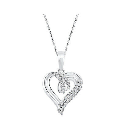 "14k White Gold Over 925 Sterling Silver Round Diamond Heart Pendant 18"" Chain"