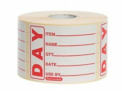 Prepared Food Red Day Labels Catering Stickers 50 x 65mm 500 Per Roll