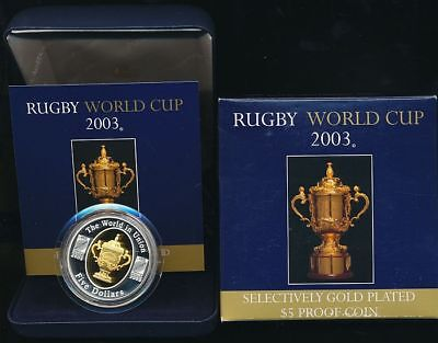 Australia: 2003 $5 Rugby World Cup 1oz Selectively giltSilver, Cat $90