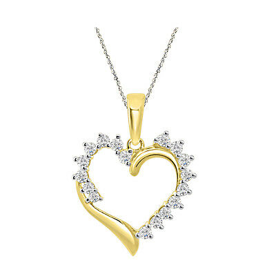 "925 Sterling Silver Round Diamond Heart Pendant 18"" Chain 14k Yellow Gold Over"