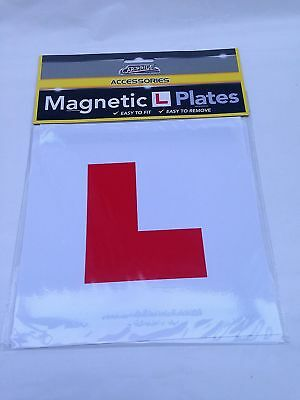 Car Pride 2 Magnetic L Plates Bright Red Sticker Learner New Car Bike Van Attach