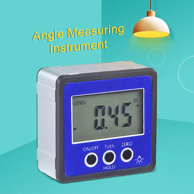 Digital Box Gauge Angle Protractor Level Inclinometer Magnetic Base 0-360° BLUE