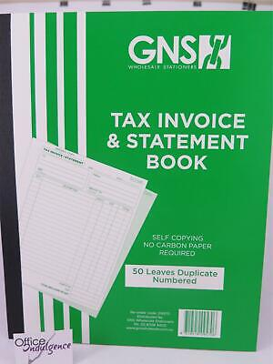 5 x Tax Invoice & Statement Book Duplicate Carbonless 255x200mm 50LF GNS 09570