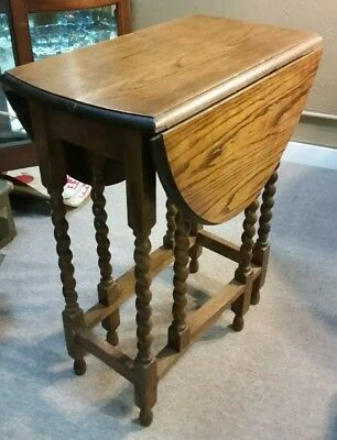 Antique English Oak Barley Twist Drop Leaf Oval Gate Leg Table Petite
