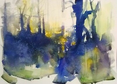 Original Abstract Forest Landscape Watercolor Painting Art Signed Not A Print