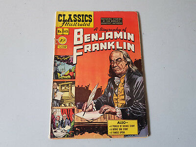 CLASSICS ILLUSTRATED No. 65 Benjamin Frankin - 10c - HRN 64 - first edition