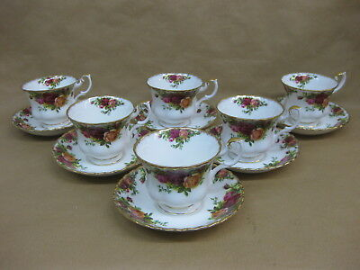 6 Royal Albert Old Country Roses Cups & Saucers ~ English Bone China
