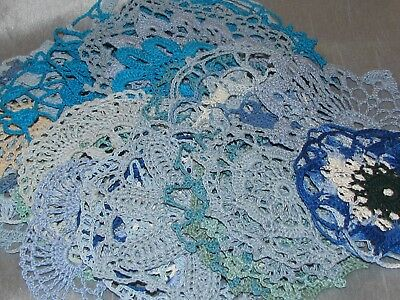 Vintage Lot of 38 Blue Crocheted Doilies Hand Made Sewing Crafts Nice Patterns