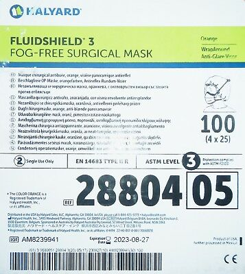 Halyard 28804 Fluidshield 3 Fog-Free Surgical Mask Orange QTY 100