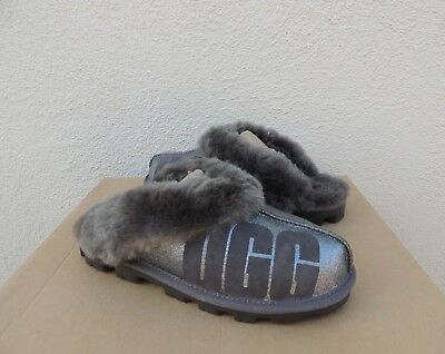 b735658bf80 UGG COQUETTE GREY Suede Sheepskin Slippers, Women Us 7/ Eur 38 ~ New ...