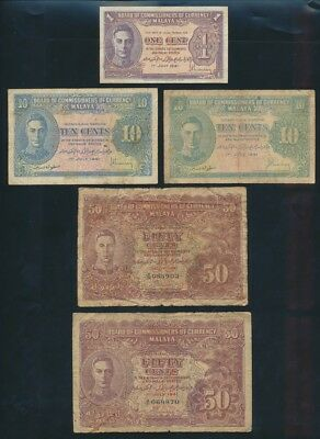"Malaya: 1941-59 1 Cent to $1000 ""COLLECTION OF 19 DIFFERENT NOTES"". Pick 6-M10b"