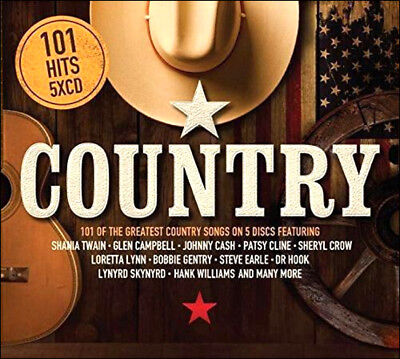 101 COUNTRY HITS * New 5-CD Boxset * All Original Hits *Patsy Cline, Johnny Cash