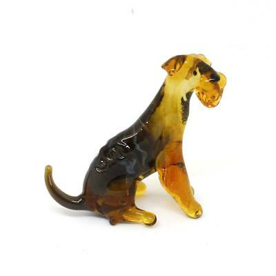 Middle blown glass figurine Dog - Airedale Terrier seated  Russian Murano #155