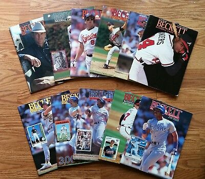 1992 Beckett Baseball Monthly Magazine Price Guide January - December 11 Issues