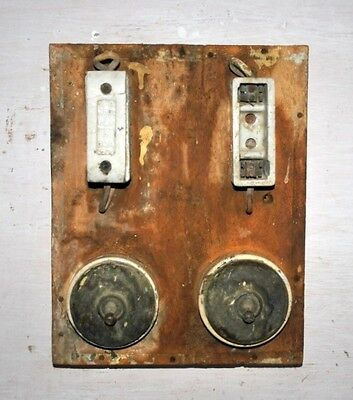 Old Antique Brass Switch Electrical Switchboard Rare Collectible Porcelain Fuse