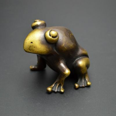 China Exquisite Old Handwork  Bronze Frog Appreciate  Statue Figurine