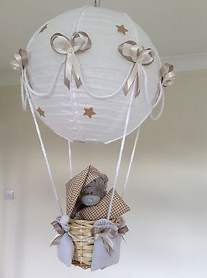 Me to you teddy. Hot air balloon nursery light shade. Beige made to order