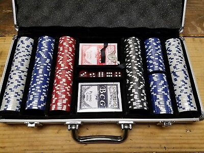 NEW PEPSI Poker Chip Set 300 Dice Chips & Cards with Silver Aluminum Case
