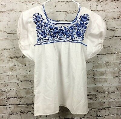52d90278e84161 Girls Size 12 Yrs Peasant Boho Puebla Hand Embroidered Elastic Arms Blouse  White