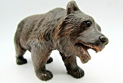 """Antique Carved Black Forest Bear,  9 cm (4."""") Tall X 16 cm (6.1/4"""") Long"""