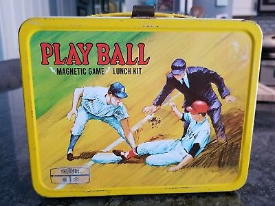 VINTAGE/ COLLECTIBLE 1969 Thermos PLAY BALL BASEBALL METAL LUNCHBOX