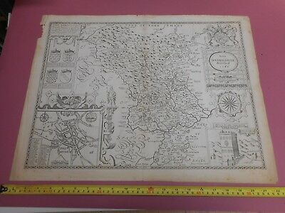 100% Original Large Derbyshire Map By John Speed C1676 Vgc