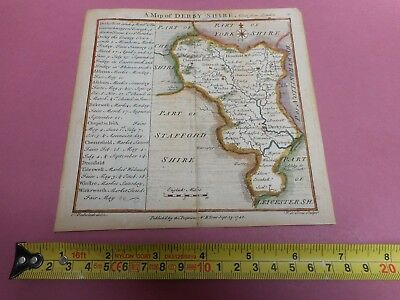 100% Original Derbyshire Map By Badesdale Toms C1742 Vgc Hand Coloured Scarce