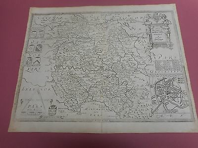 100% Original Large Herefordshire Map By Saxton P Lea C1693 Scarce