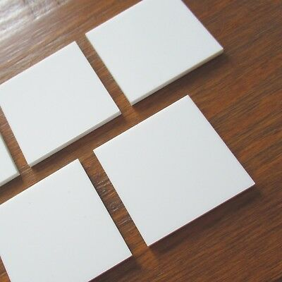 White Laser Cut Plastic 3mm Thick Squares Blanks ACRYLIC PERSPEX Craft Mosaic x5
