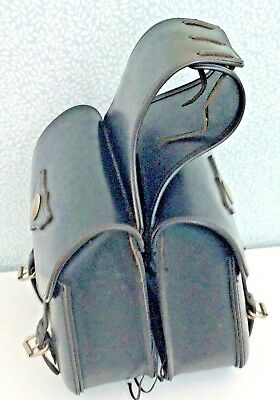 Pair Of Over Seat Leather Saddle Luggage Bags