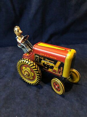 1950's Mettoy Tin Wind Up Crazy Tractor with Driver Great Britain