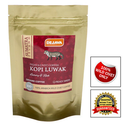 100% SUMATRA WILD CIVET CAT COFFEE KOPI LUWAK - FRESHLY ROASTED & GROUND 25g