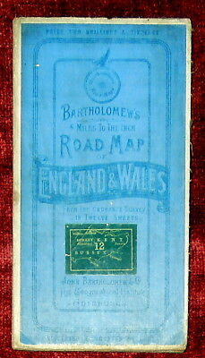 "Bartholomew's 1"":4 Miles Linen Backed Dissected Map Of South East England - 1900"