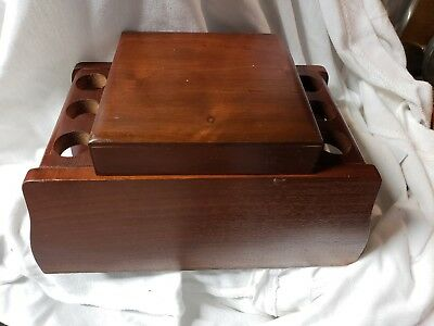 Vintage Cherry Wood Smoking 6 Pipe Holder Rack Stand with Built On Humidor