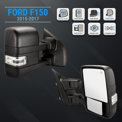 For 15-19 F150 Pickup Black Tow Mirrors 22 PIN Power Heated LED Signals Puddle