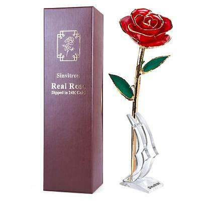 Gold Dipped Rose, Sinvitron Long Stem 24k Gold Dipped Real Rose Lasted Forever
