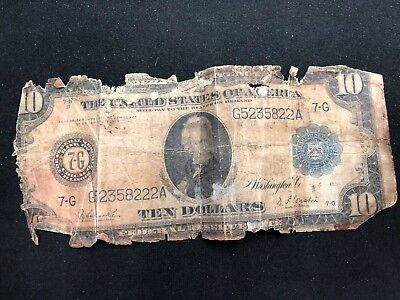 Large 1914 $10 Dollar Bill Federal Reserve Note- Chicago- Poor Shape